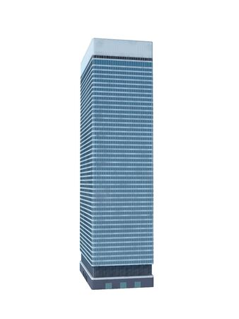 skyscraper: single skyscraper isolated on white background,digitally generated image.