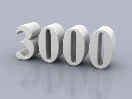 wit metallic nummer 3000 op een witte achtergrond Stockfoto