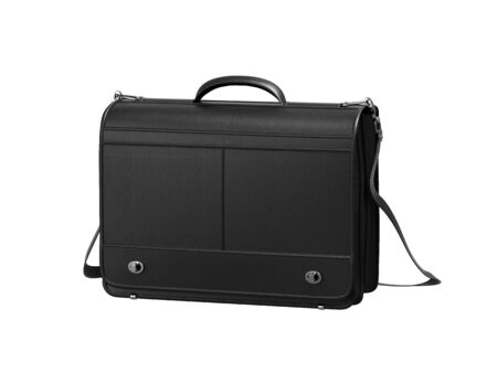 leather briefcase: black leather briefcase isolated on white background. Stock Photo