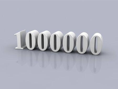 white metallic number 1000000 on gray background