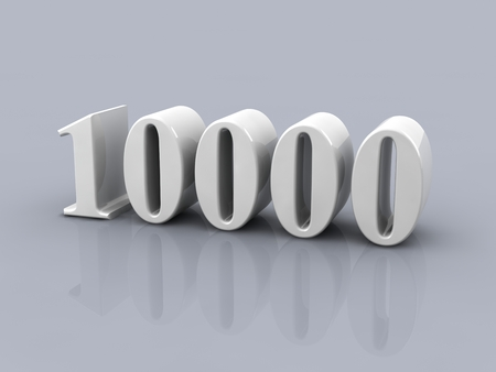 white metallic number 10000 on gray background