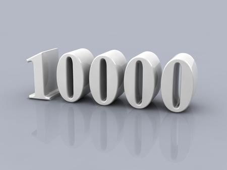 wit metallic nummer 10000 op een grijze achtergrond Stockfoto