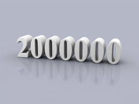 white metallic number 2000000 on gray background