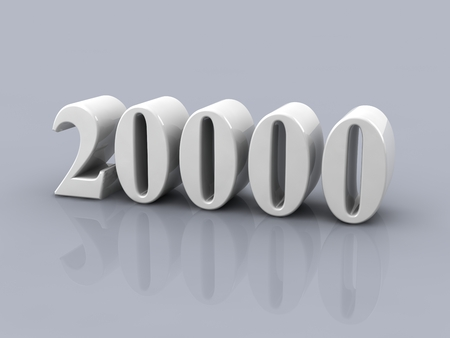 white metallic number 20000 on gray background  Standard-Bild