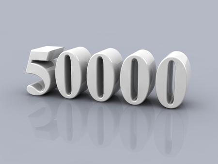 wit metallic nummer 50000 op een grijze achtergrond Stockfoto