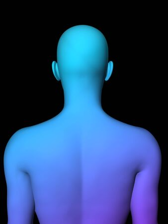 facial features: colorful 3D male half-length portrait on black background. Stock Photo