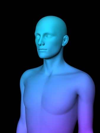 male chest: colorful 3D male half-length portrait on black background. Stock Photo