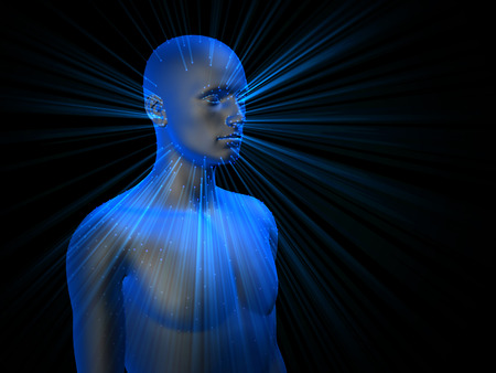 bosom: colorful 3D male half-length portrait with ray of light on black background.