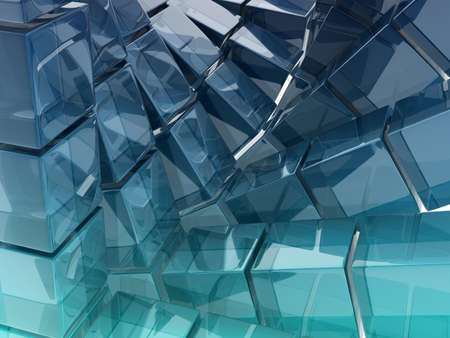 abstract background composed by glass cubes, digitally generated image photo