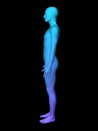 bosom: colorful 3D male full-length picture on black background.