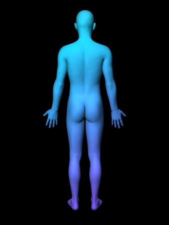 facial features: colorful 3D male full-length picture on black background.