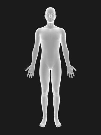 bosom: white 3D male full-length picture on black background.