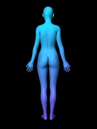 bald woman: colorful 3D woman full-length picture on black background.smooth style. Stock Photo