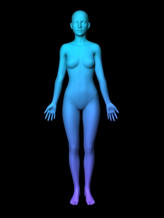 female portrait: colorful 3D woman full-length picture on black background.smooth style. Stock Photo