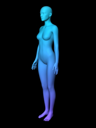 bald girl: colorful 3D woman full-length picture on black background.smooth style. Stock Photo