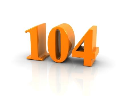 Yellow metallic number 104 on white background. Digitally generated image.