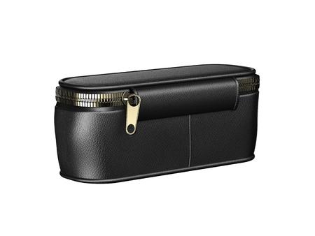 notecase: black leather wallet isolated on white background.