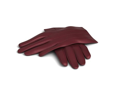 leather gloves: red leather gloves isolated on white background.
