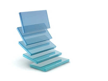 glass rectangles on white background, digitally generated image