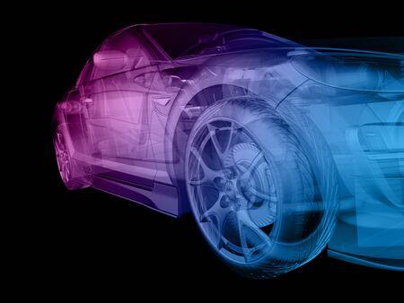 3d 소프트웨어에서 만든 추상 구조 스타일의 자동차.