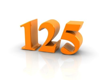 geel metallic nummer 125 witte background.digitally geproduceerd beeld op. Stockfoto