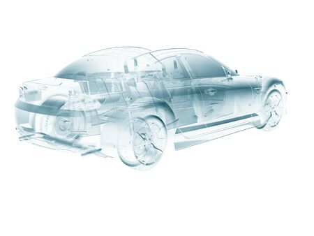 car in abstract structure style,created in 3d software. Stock Photo