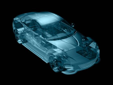 delineate: car in abstract structure style,created in 3d software. Stock Photo