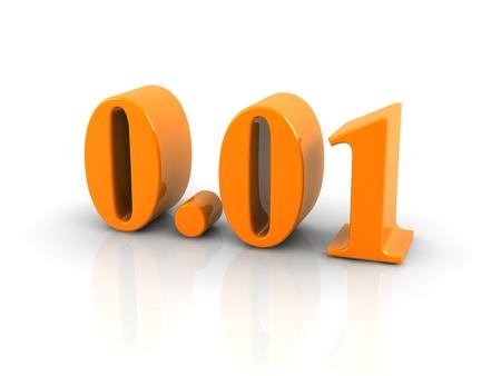 decimal: orange metallic number 0.01 on white background..