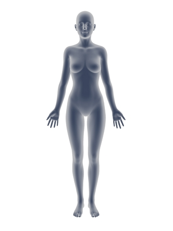 bosom: gray 3D woman full-length picture on white background, smooth style.