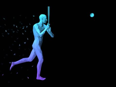 disperse: colorful 3D abstract male body playing baseball on black background.