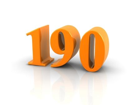 白い背景の上のオレンジ色の金属数 190