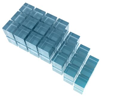 digitally generated image: Glass cubes on white background, digitally generated image Stock Photo