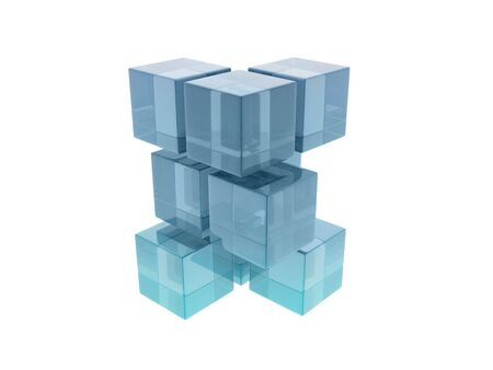 Glass cubes on white background, digitally generated image Stock Photo