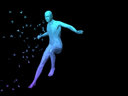 pugilism: blue 3D abstract male body model fighting on black background. Stock Photo