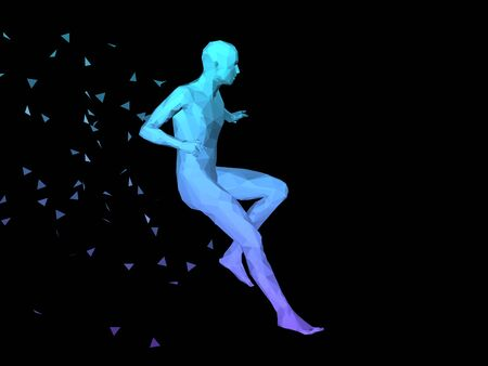 disperse: blue 3D abstract male body model fighting on black background. Stock Photo