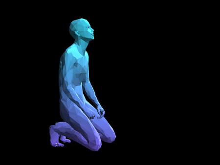 disperse: blue 3D abstract male body model kneeling on black background.