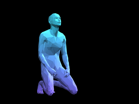 blue 3D abstract male body model kneeling on black background.