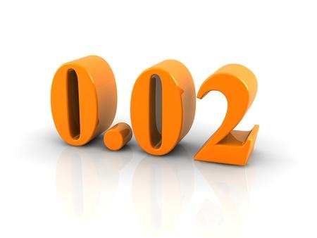 decimal: orange metallic number 0.02 on white background.digitally generated image.
