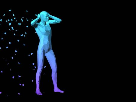 disperse: blue 3D abstract male body model standing on black background. Stock Photo