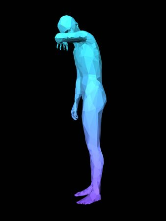 reverie: blue 3D ashamed man standing on black background. Stock Photo