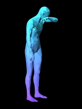 avergonzado: azul 3D avergonzado hombre de pie sobre fondo negro.