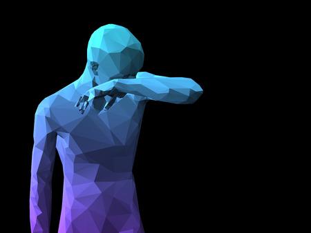 ashamed: azul 3D avergonzado hombre de pie sobre fondo negro.
