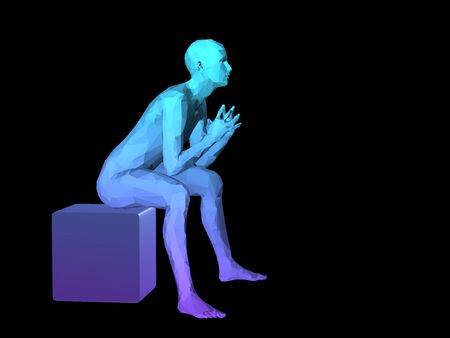 disperse: blue 3D abstract male body model sitting on a cubes.