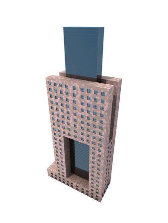 digitally generated image: single skyscraper isolated on white background,digitally generated image.