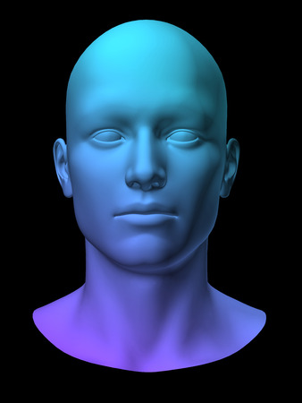 dark face: blue 3d man head on black background.