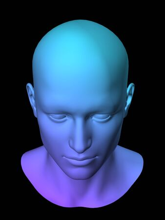 blauwe 3d man het hoofd op een zwarte achtergrond.