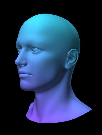 reverie: blue 3d man head on black background.