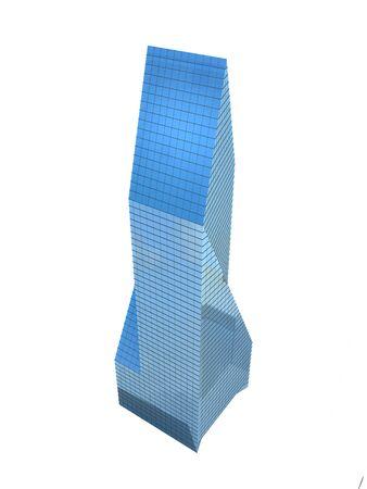 digitally generated image: single skyscraper isolated on white background, digitally generated image.