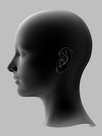 facial features: black 3d woman head on gray background.