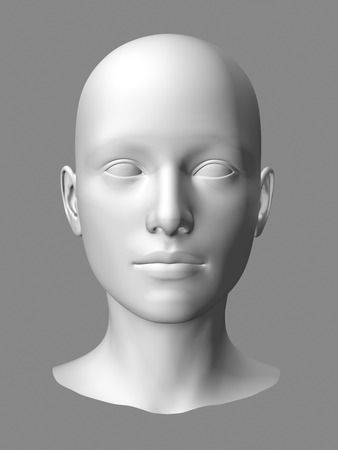 wlhite3d woman head on gray background. 스톡 콘텐츠